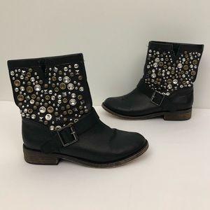 Steve Madden Galla Studded Calf Cowgirl Boots Flat